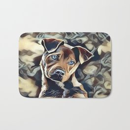 The Blue Eyed Pit bull Puppy Bath Mat