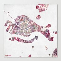 venice Canvas Prints featuring VENICE by MapMapMaps.Watercolors
