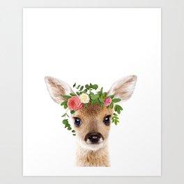 Baby Deer With Flower Crown, Baby Animals Art Print By Synplus Art Print