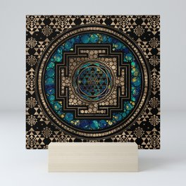 Sri Yantra  / Sri Chakra Marble and Gold Mini Art Print