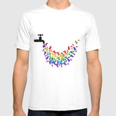 Birds Rain MEDIUM Mens Fitted Tee White
