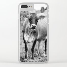 Dairy Cow Stowe Vermont Black and White Square Clear iPhone Case