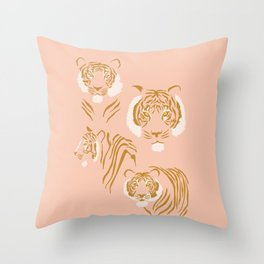 Tigers in Blush + Gold Throw Pillow