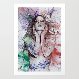 The Withering Spring: Wine (nude tattooed girl with flowers) Art Print