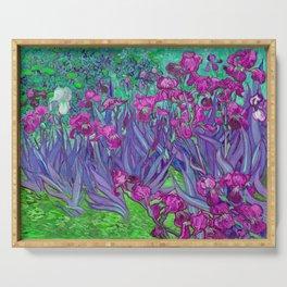 Vincent Van Gogh Irises Painting Violet Fuchsia Palette Serving Tray