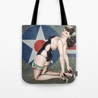 aviation Tote Bags featuring WWII Nose Art Aviation Vintage Pinup Girl by Pinup Lighters
