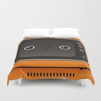 tv Duvet Covers featuring tv by The Geek Store
