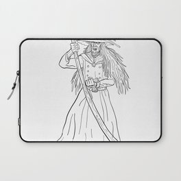 Ankou Graveyard Watcher With Scythe Drawing Black and White Laptop Sleeve