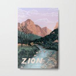 Zion National Park, Utah, USA Illustrated National Parks Metal Print