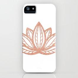 Lotus flower outline tattoo, Rose gold foil boho chic floral design iPhone Case