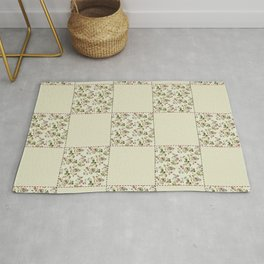 Checkered Roses Red Green and Ivory Rug