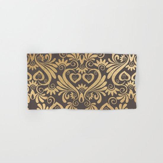 Gold swirls damask #5 Hand & Bath Towel