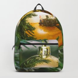 Christmas tree decorated with golden balls Backpack