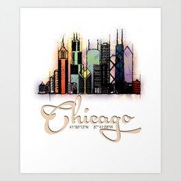 Colorful Skyline Chicago GPS coordinates Art Print