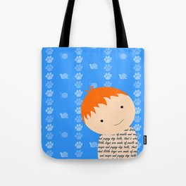Snails and Puppy Dog Tails Red Headed Little Boy Tote Bag
