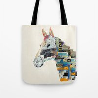 mod Tote Bags featuring the mod horse by bri.buckley