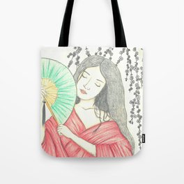 Japanese woman with a hand fan and flowers Tote Bag