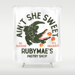 """""""Aint She Sweet"""" Cute Alligator Pastry Shop Design Shower Curtain"""