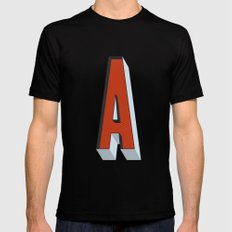 Letter A Black Mens Fitted Tee MEDIUM