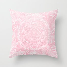 Medallion Pattern in Blush Pink Throw Pillow