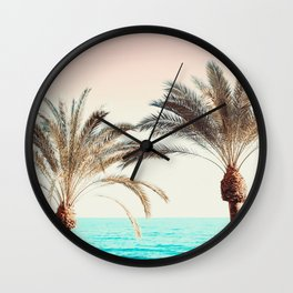 Modern California Vibes pink sky blue seascape tropical palm tree beach photography Wall Clock
