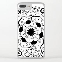 Namsate black mandala on white Clear iPhone Case