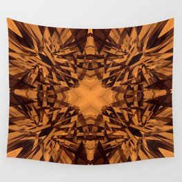 Orange kaleidoscope star pattern Wall Tapestry
