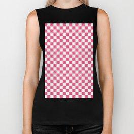 Small Checkered - White and Dark Pink Biker Tank