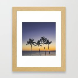 Palm Trees w/ Ombre Tropical Sunset - Hawaii Framed Art Print