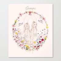 gemini Canvas Prints featuring Gemini by Danse de Lune