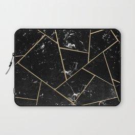 Black Marble Gold Geometric Glam #1 #geo #decor #art #society6 Laptop Sleeve