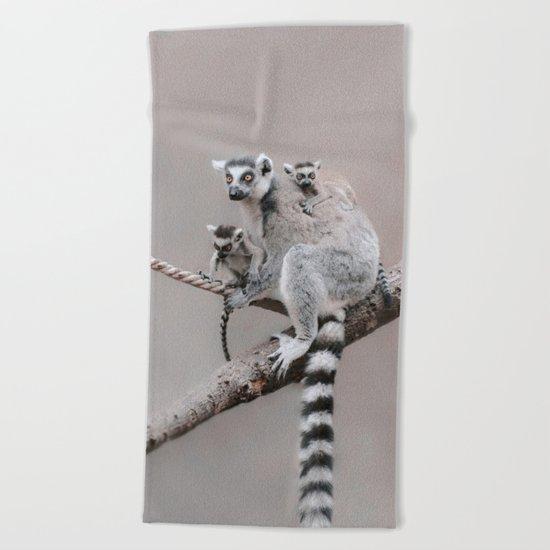 LEMURS by Monika Strigel Beach Towel