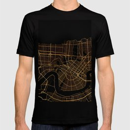 Black and gold New Orleans map T-shirt