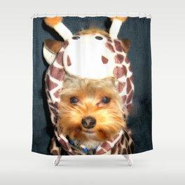 Happy Yorkie in Giraffe Costume   Dogs Shower Curtain