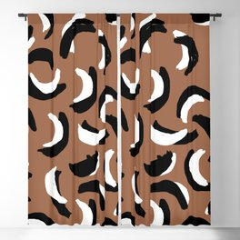 Banana dance party LA style rust copper black and white Blackout Curtain
