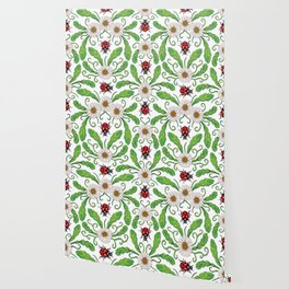 Ladybugs & Daisies - Cute Floral Bug Pattern with Ladybirds Wallpaper