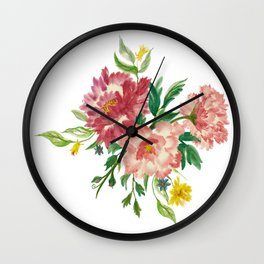 Watercolor of Flower Bouquet Wall Clock