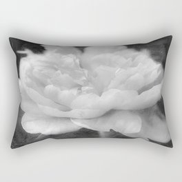 Peony in Black and White Rectangular Pillow