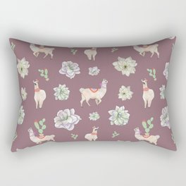 Cute Llamas with Flowers and Cacti (taupe theme) Rectangular Pillow