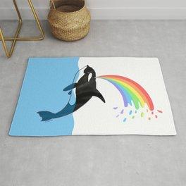 Killer Whale Blows Rainbow Rug