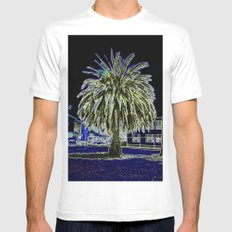Magic night with Palm tree Mens Fitted Tee White MEDIUM