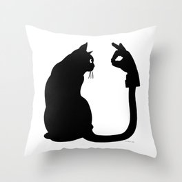 Chasing Shadows - Cat Tail Hand Shadow Puppet Surreal Fantasy Throw Pillow
