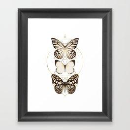 butterflies and gold geometry Framed Art Print