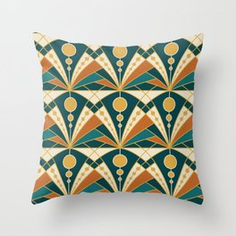 Art Deco (Green, rusty and gold) Throw Pillow