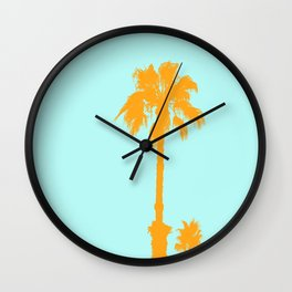 Orange palm trees silhouettes on blue Wall Clock