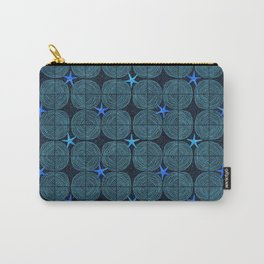 Blue starfish on a sandy beach at night Carry-All Pouch