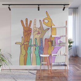 Wild Thing Hand on White Alphabet Illustration Wall Mural