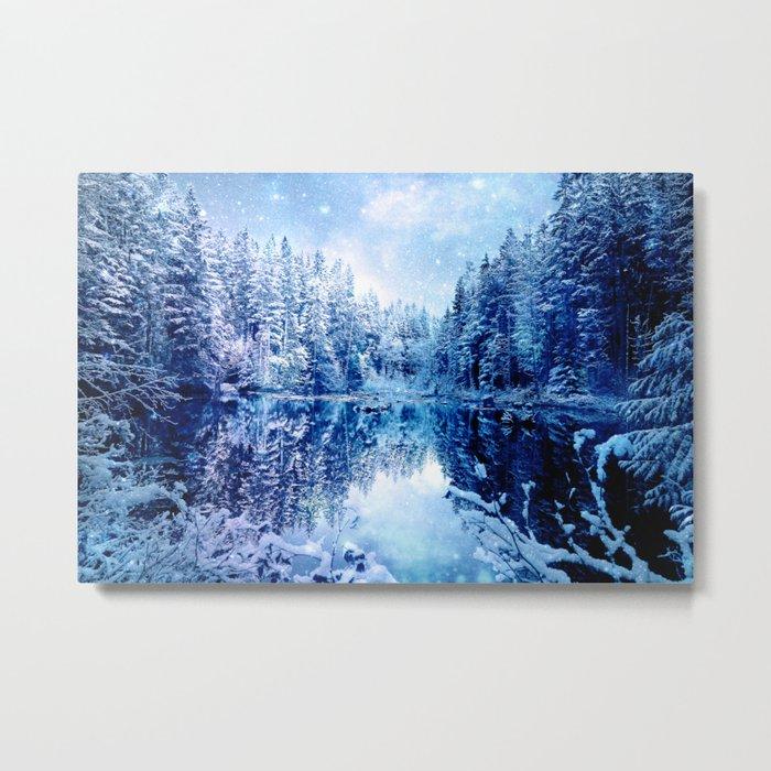 Blue Winter Wonderland : Forest Mirror Lake Metal Print