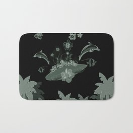 Surfboard with dolphin, flowers, palm and turtle Bath Mat
