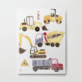 Construction Machines Metal Print